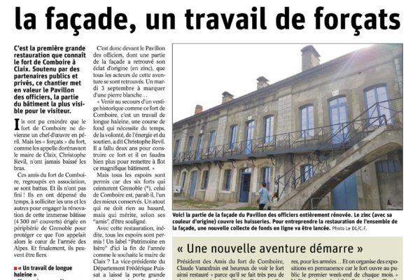 première page revue de presse du dauphinée traitant du fort de comboire