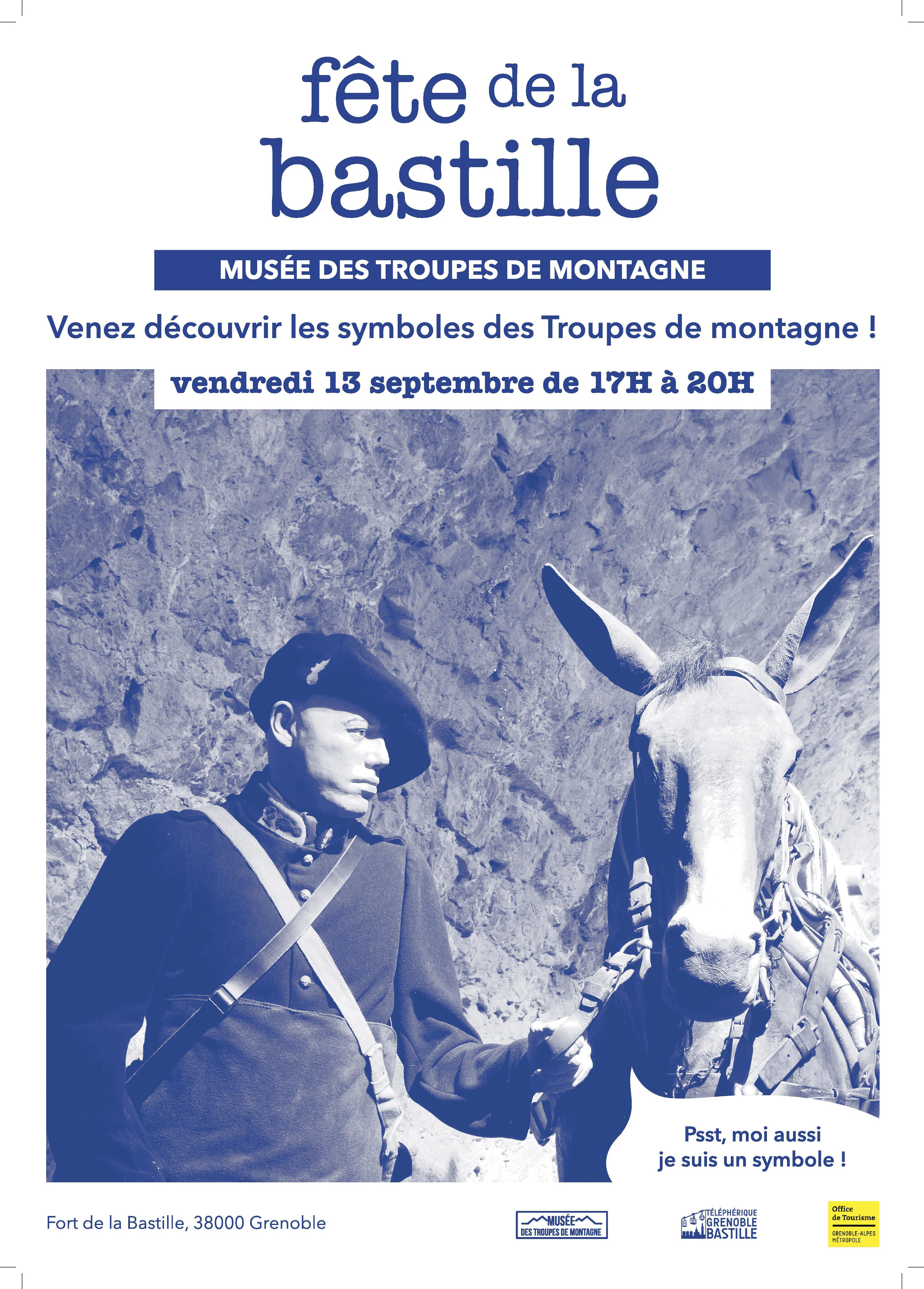 Affiche pour la Fête de la Bastille au Musée des Troupes de montagne, qui représente un soldat avec un mulet.